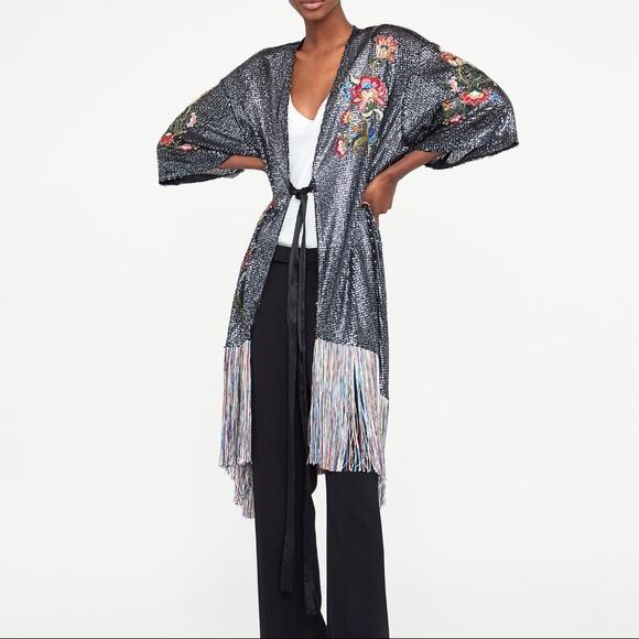 be8cbde5 Zara Dresses | Embroidered Sequin Kimono Fringe Wrap Dress | Poshmark